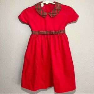 EdgeHill Collection Red Plaid Tie Back Dress